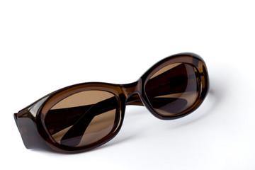 Dark sunglasses on white background