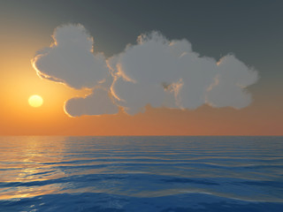 sunset and cumulus clouds above a sea