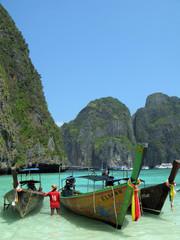 Three long tail boats at Maya beach, Phi-Phi island