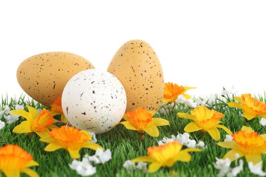 Oeufs de Pâques dans l'herbe