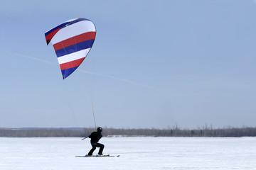 Kite-surfer on ice