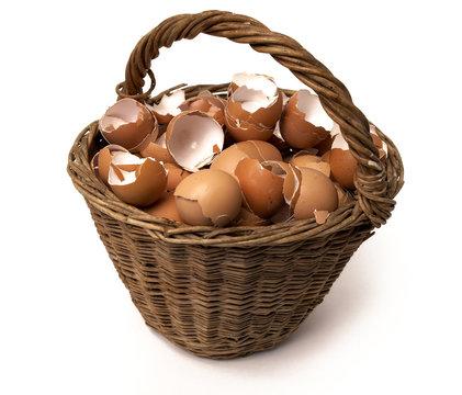 broken eggs on the basket