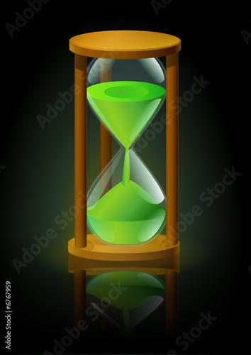 sablier vert avec reflet sur fond noir fichier vectoriel. Black Bedroom Furniture Sets. Home Design Ideas