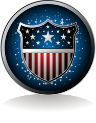 American inspired badge with drop shadow
