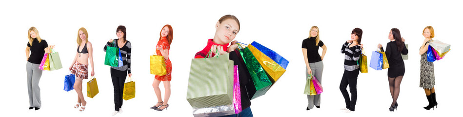 group of nine shopping girls happy one at front