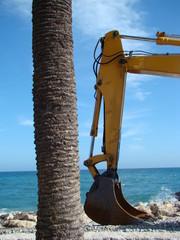 pelleteuse sur la plage