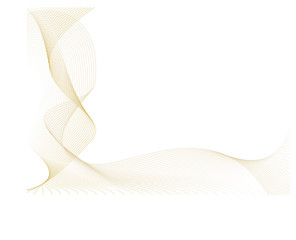 Abstract flowing golden lines with white copy space
