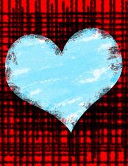Papiers peints Affiche vintage Blue Grunge Heart Background