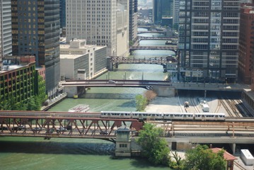 Bridges along the river in downtown Chicago