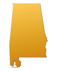 Alabama (USA) map filled with orange gradient