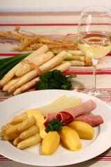spargel,schinken und kartoffel