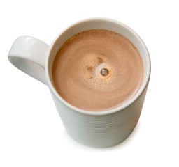 Photo sur Plexiglas Chocolat Hot chocolate in a cup isolated on white