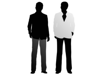 male silhouettes wearing fashionable clothes