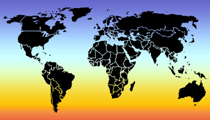 World map silhouette on sunset background