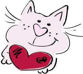 Cartoon-Katze mit Herz in der Hand