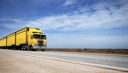 Road train on the Eyre Highway, Nullarbor Plain, South Australia