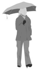 woman with asymmetric windproof umbrella
