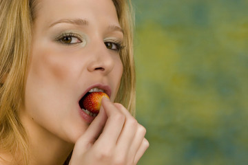 Beauty with strawberry