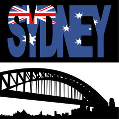 Sydney harbour bridge with flag text
