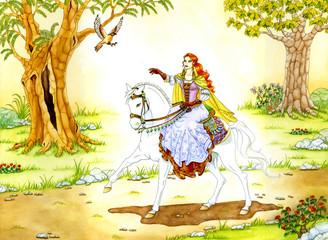Zauberin auf weissem Pferd
