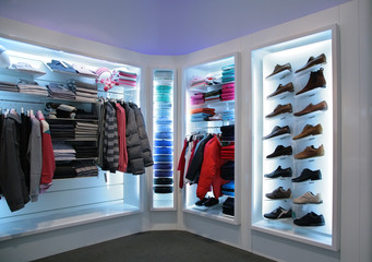 upper clothes and shoes in shop