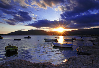Sunset in harbor