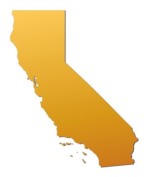 California (USA) map filled with orange gradient