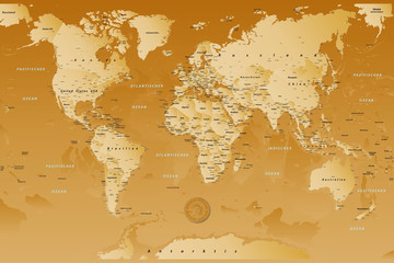 Keuken foto achterwand Wereldkaart weltkarte_Braun_01