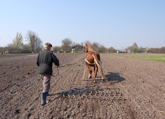 Farmer at work, plowing the land.