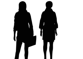 black silhouettes of females standing