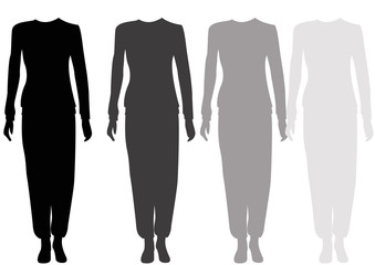headless black silhouettes of females standing