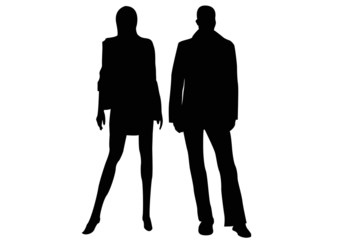 black silhouette of couple standing