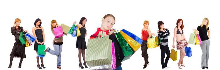 group of nine shopping girls