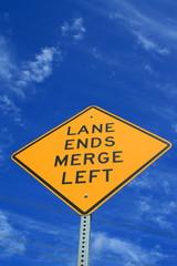 Lane Ends Road Sign