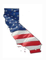 U.S. flag over California