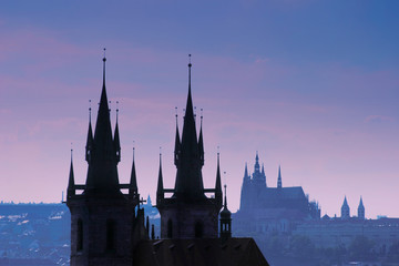 Klistermärke - Czech Republic, Prague, silhouette of Tyn church