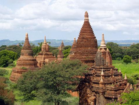 Bagan Buddhist temples panorama