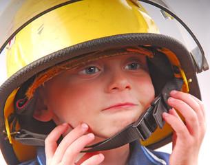 Child in Fireman's Helmet