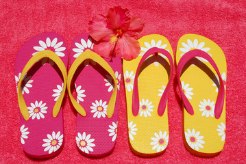 Flip flops on towel