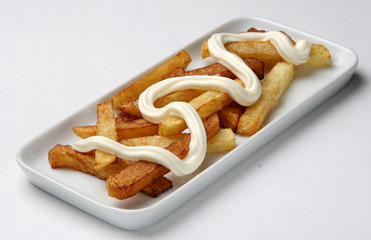 Food,deep fried french fries with mayonnaise