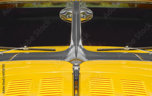 Wall mural american muscle car hood and windshield close-up