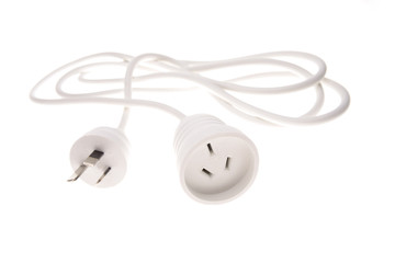 Electrical plugs and cable over white background