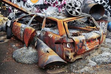 Deteriorated rusty car
