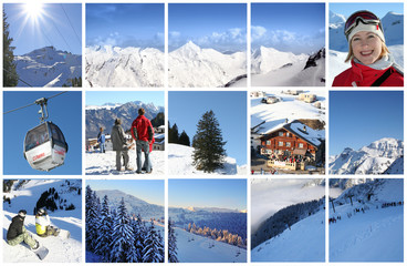 winter Alps in collage