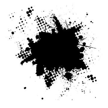Halftone ink splat grunge background