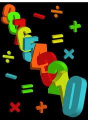 Numbers & Symbols Multicoloured on Black