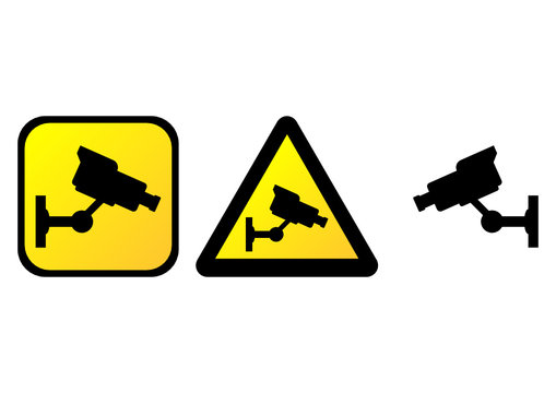 Surveillance camera warning signs over white background