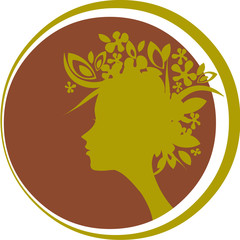 profile of woman with flowers on hair