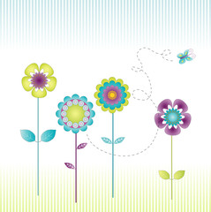 Retro flowers in the meadow on a striped background
