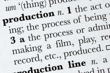 Production word dictionary definition